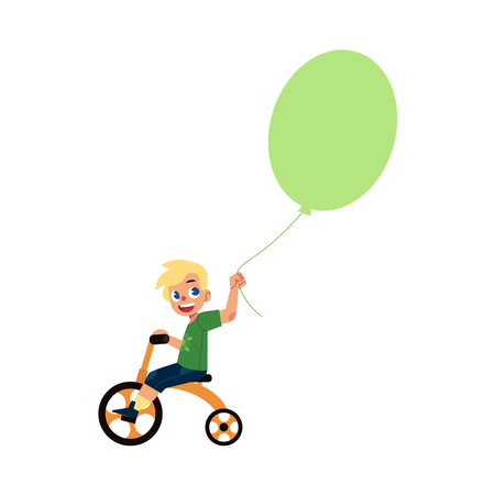 Vector flat little boy child riding bicycle holding big air balloon smiling.