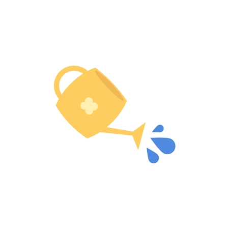 Vector flat yellow watering can with pouring water icon. Isolated illustration with gardening irrigation equipment for plant, flowers watering. Ecology growth environment symbol on white background. 일러스트