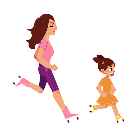 Vector flat girl teen kid, child and adult woman roller skating in summer clothing. Active lifestyle female character, having fun doing sport. Isolated illustration, white background.