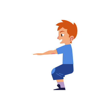 Vector cartoon young kid boy, man in casual clothing doing squat, quadriceps muscle workout exercises. Active lifestyle male character doing sport. Isolated background illustration Standard-Bild - 96240560