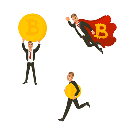 Vector flat bitcoin, mining concept. Male character, happy businessman in suit flying like superman in cape, miner walking holding, raising up big golden coin. Isolated illustration white background