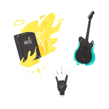 Vector flat music symbols set. Guitar amplifier, loudspeaker burning with yellow fire, electric guitar, hand rock gesture. Illustration