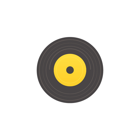 Vector flat vintage vinyl record, circle black yellow retro music sound audio disk icon. Plastic disco tracks for gramophone, dj equipment. Isolated illustration on a white background