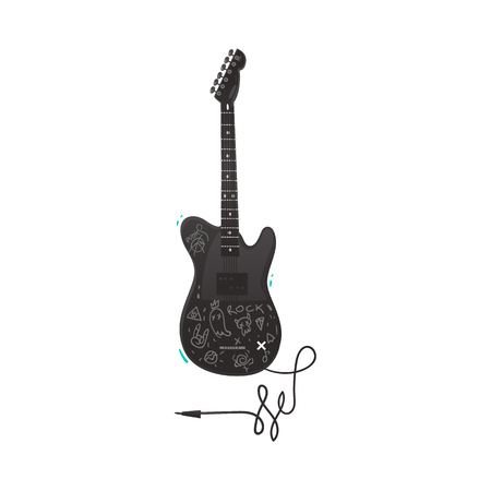 Vector flat electric guitar black colored with jack cable audio wire. Rock music attribute, string instrument icon. Isolated illustration on a white background.