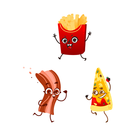 Vector flat fastfood characters set. Illustration