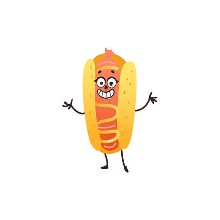vector cartoon hotdog character, humanized snack with mustard, fast food object with face, arms and legs smiling for kids restaurant menu.