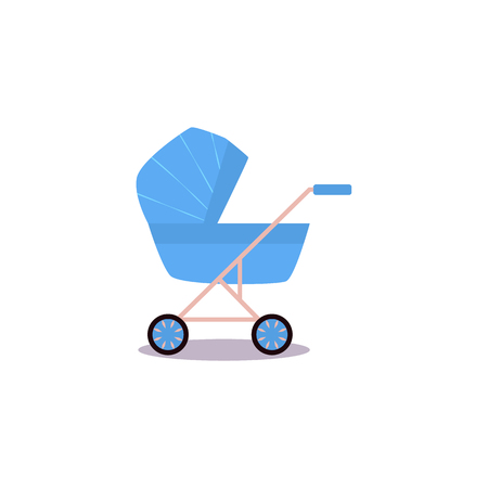 Cartoon baby carriage or stroller, pram blue perambulator flat vector. Isolated illustration on a white background newborn baby concept object for your design. Иллюстрация