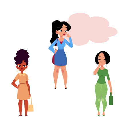 Vector flat adult woman, girl smoking in office clothing, female characters pinching nose, angry expression. Nicotine addiction tobacco smoking risk concept. Isolated illustration white background