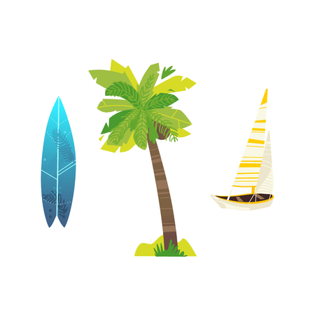 Travelling, beach vacation symbols flat vector icon set. Summer holiday rest elements, palm tree plant with coconut, surf with underwater print, sailing yacht. Isolated illustration, white background.