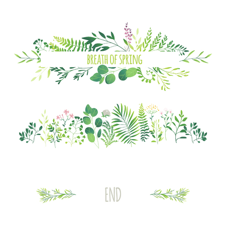 Vector cartoon abstract green plants flower herbs frame and pattern set.