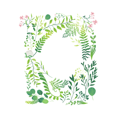 Vector cartoon abstract green plants flower herbs frame template.