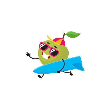 Vector cartoon summer symbol fruit character in sunglasses, cap icon. Apple going to beach surfing holding surf smiling, Isolated illustration on a white background. Ilustracja