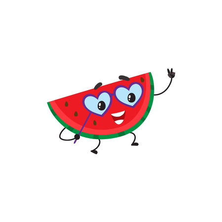 Funny watermelon character with human face wearing heart-shaped glasses, having fun at party, cartoon vector illustration isolated on white background. Watermelon character in glasses having party. Ilustração