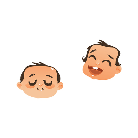 Set of two baby face, head icons, sleeping and laughing, flat vector illustration isolated on white background. Flat, comic emoticon, emoji icon with sleeping and laughing newborn baby boy head.