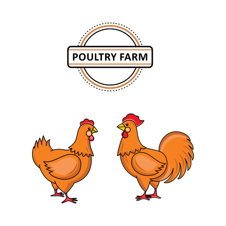 Hand drawn brown rooster, cock with red crest and hen chicken flat vector. Isolated illustration on a white background. Farm poultry object for advertising, poster design. Illustration
