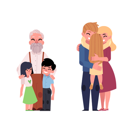 Family hugging flat vector. Adult couple mother and father hug blonde girl daughter kid, child, elderly senior grandfather hugging kids smiling. Isolated illustration, white background. Illustration