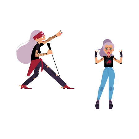 Rock music, culture people flat vector set. Heavy metal, punk rock style clothing, haircut elderly old women singing at microphone, showing rock sign. Isolated illustration, white background. Foto de archivo - 96433563