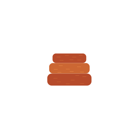 Barbecue symbol wooden timbers, log or charcoal for grill flat vector icon. Restaurant menu design elements, isolated illustration on a white background. Illustration