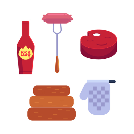 Vector cartoon barbecue, bbq symbol set. Sausage at fork, ketchup in red bottle, meat stake and ketchen glove, charcoal woodlog. Restaurant menu design elements isolated illustration, white background