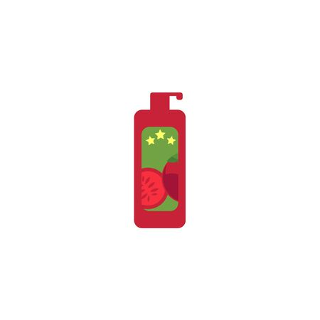 Barbecue symbol hot sauce, ketchup in red plastic bottle flat vector icon. Restaurant menu design elements, isolated illustration on a white background. Иллюстрация