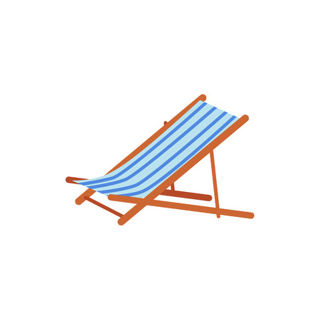 Striped lounge chair, tanning bed, summer beach vacation symbol, flat cartoon vector illustration isolated on white background. Cartoon lounge chair, tanning bed for relaxation on the beach. Çizim