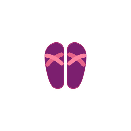 Pair of pink and purple rubber flip-flops, typical summer vacation footwear, flat cartoon vector illustration isolated on white background. Flat cartoon rubber flip-flops, summer footwear.  イラスト・ベクター素材