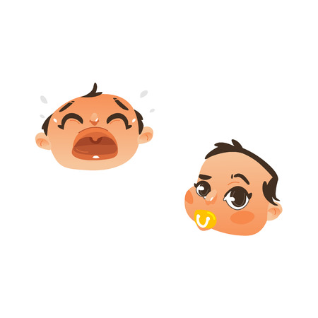 Baby face with facial expression set flat vector. Dissapointed unhappy boy kid crying, curious child sucking nipple. Cartoon funny emotional character portrait isolated illustration, white background. Illustration