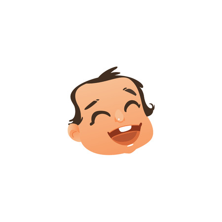 Flat vector baby face with happy facial expression, laughing and smiling boy kid. Cartoon male funny emotional character portrait with mouth open, eyes closed. Isolated illustration, white background.