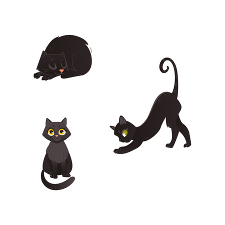 Cartoon vector black cat animals set. Funny flat domestic pets in different poses sitting, playing, sleeping. Cute characters, Halloween holiday symbols isolated illustration, white background. Stock Illustratie