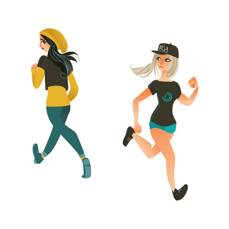 Vartoon vector runaway people set. Sportive girls, female characters in athletic casual clothing running with afraid face looking back. Isolated illustration on a white background.