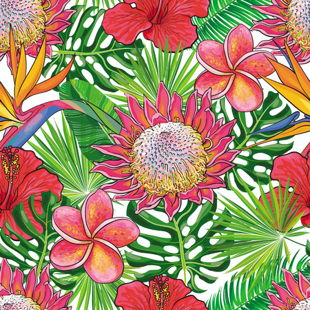 Vector hand drawn sketch illustration of red hibiscus flowers with opened blossoms, tropical eaves seamless pattern.