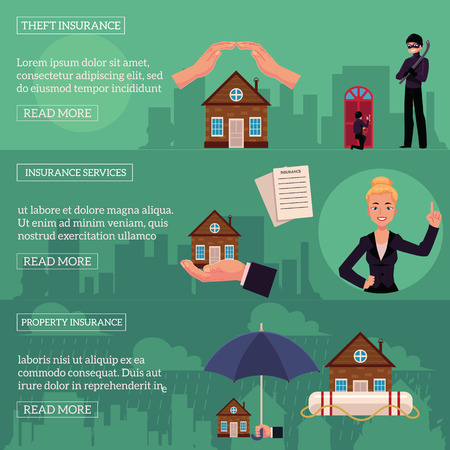 Vector house insurance infographic posters set. Illustration