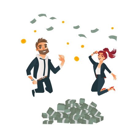 Successful business man, cute redhead office woman jumping under money rain near dollar piles set. Characters in office corporate clothing. Vector cartoon isolated illustration, white background