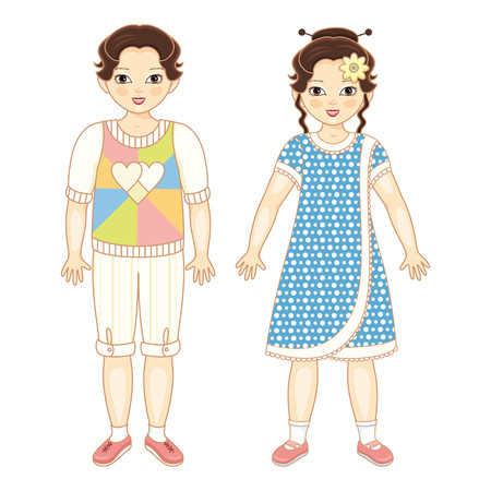 Vector flat Asian brunette boy and girl kids friends standing smiling. Male, female characters in casual clothing