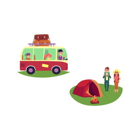 vector flat people in vintage minivan vehicle with big bags at roof, man girl hikers with backpacks near camping tent, bonfire. Isolated illustration white background. Illustration
