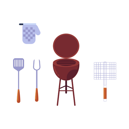 barbecue symbols set, vector illustration isolated on white background.