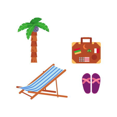 Vector flat travelling, beach vacation symbols icon set. Summer holiday rest elements - lounger, palm, slippers, travel bag with marks. Isolated illustration, white background Иллюстрация