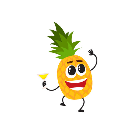 Funny pineapple character with human face and cocktail glass having fun at party, cartoon vector illustration isolated on white background.