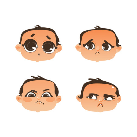 set of babies with different facial expressions, vector illustration isolated on white background. Illustration