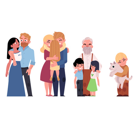 Vector flat family hugging. Adult couple mother and father hug blonde girl daughter kid, child, elderly senior grandfather hugging kids, boy with dog smiling. Isolated illustration, white background.