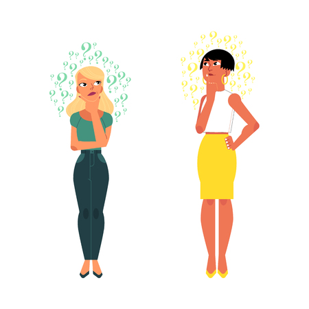 Vector flat young cute caucasian adult women in yellow skirt, jeans set. Beautiful characters standing thoughtful pose holding chin thinking with questions above head. Isolated background illustration