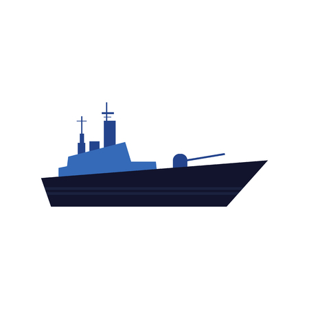 Flat style warship, battleship, armoured naval vehicle icon, vector illustration isolated on white background. Flat style vector icon of blue toy warship, battleship