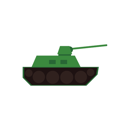 Flat style war tank, armored vehicle icon, vector illustration isolated on white background. Flat style simplified vector icon of green toy tank, fighting armored vehicle Illustration