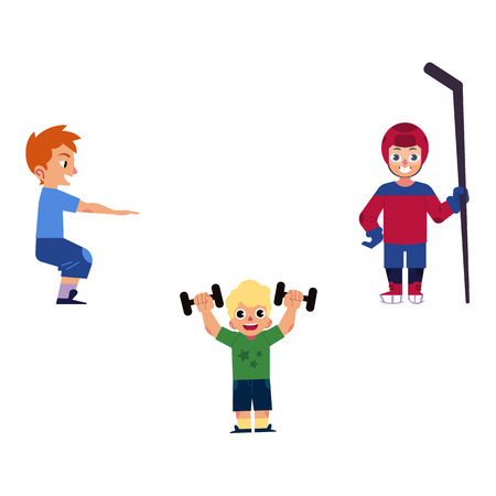 Vector flat young kid boys doing sports set. Male characters doing squat, dumbbells exercises and playing hockey in protective equipment. Isolated background illustration