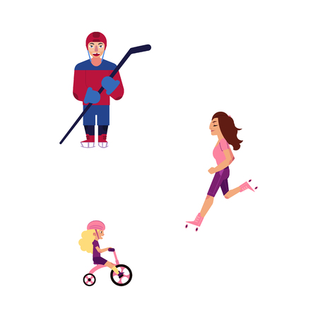 Vector flat adult man, young woman kid girl doing sports set. Sportive lifestyle family, father ice hockey player, mother roller skating, daughter child riding bicycle. Isolated illustration