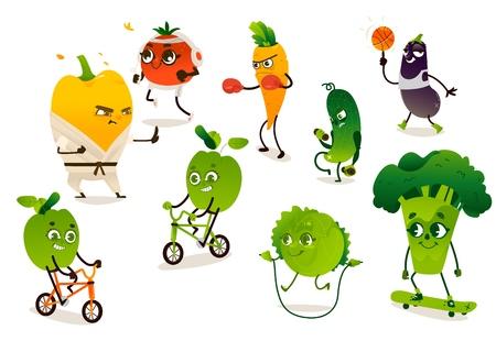 Conjunto de verduras divertidas haciendo deporte, ilustración vectorial de dibujos animados aislado sobre fondo blanco. Personajes de pimienta, tomate, brócoli, manzana, zanahoria, pepino, repollo, berenjena haciendo ejercicios deportivos