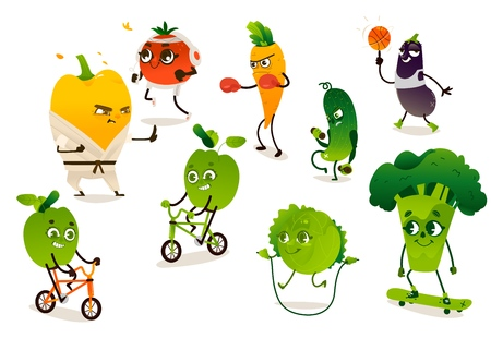 Set of funny vegetables doing sport, cartoon vector illustration isolated on white background. Pepper, tomato, broccoli, apple, carrot, cucumber, cabbage, eggplant characters doing sport exercises Illustration