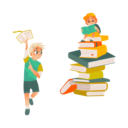 Vector cartoon small boy, school or kindergarten sitting at big book column, stack, reading textbook smiling, male character running with book . Child student, education concept. Isolated illustration