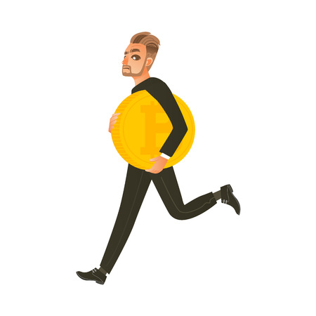 Man, businessman running, hurrying with giant bitcoin, BTC, flat cartoon vector illustration isolated on white background. Bitcoin, cryptocurrency concept with businessman and giant golden coin