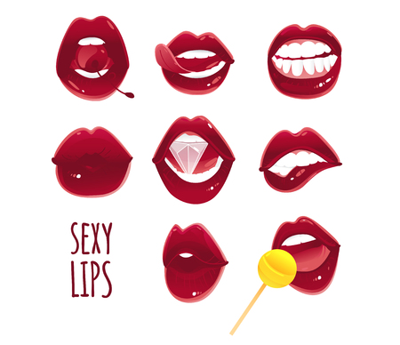 Set, collection of pop art red female lips - ajar, bitten, kissing, with tongue, cherry, diamond and lollipop, vector illustration isolated on white background. Set of pop art style sexy female lips